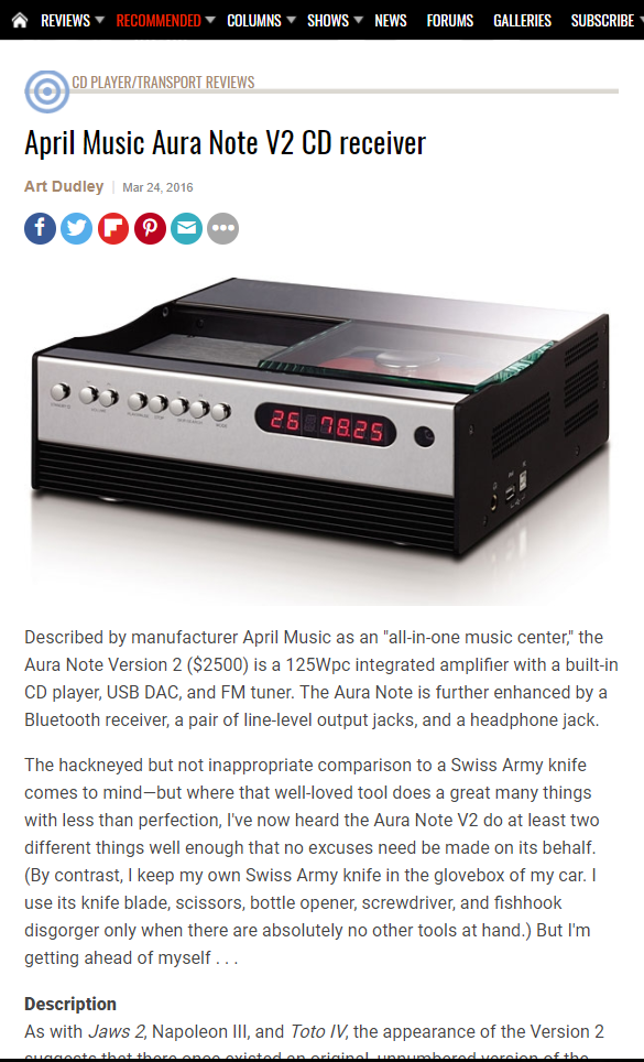 April Music Aura Note V2 CD receiver